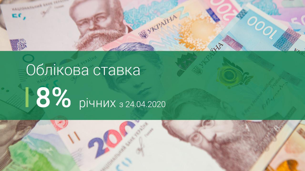 Облікова ставка Національного банку України – 8%